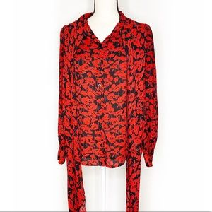 WHO WHAT WEAR Red Black Poppy Scarf Tie Blouse XS